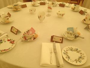 afternoon tea wedding table Pentillie castle cornwall