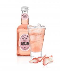 Bloom Gin rose lemonade bottle and glass