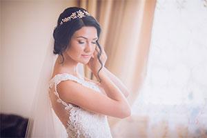 Bride getting ready at wedding venue