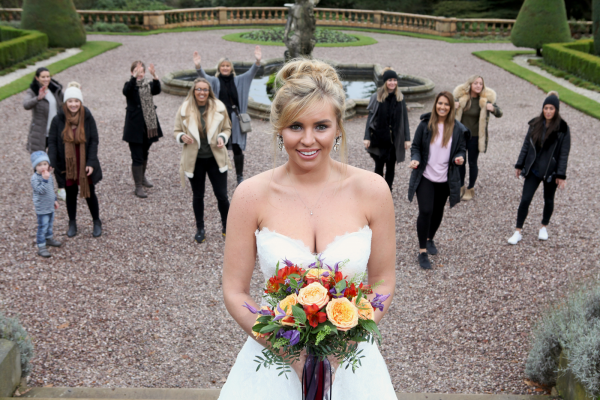 Brides-to-be gathered at Tatton Park on Saturday 3 December for a bouquet toss hosted by bride: The Wedding Show