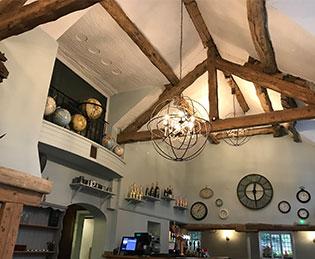The Bridge Prestbury - beams in the restaurant area