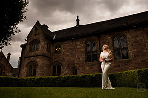Bride outside Chetham's Library