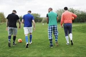 4 men going to play foot golf