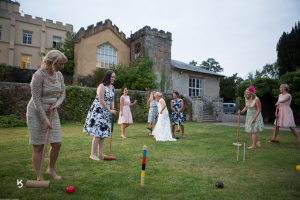 fun and games with wedding guests Pentillie castle cornwall