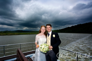 getting married on a boat Pentillie Castle, Ccornwall