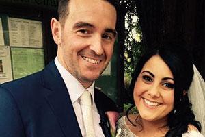 Couple at wedding venue