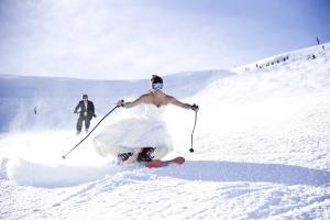 Winter wedding mountains