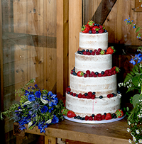 Stable Cottage Cakes - wedding cake semi naked barn
