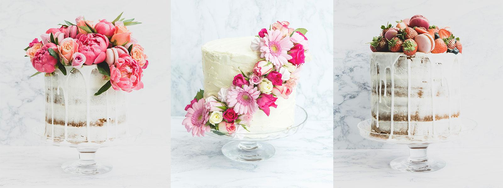 3 DIY wedding cakes all with pink roses