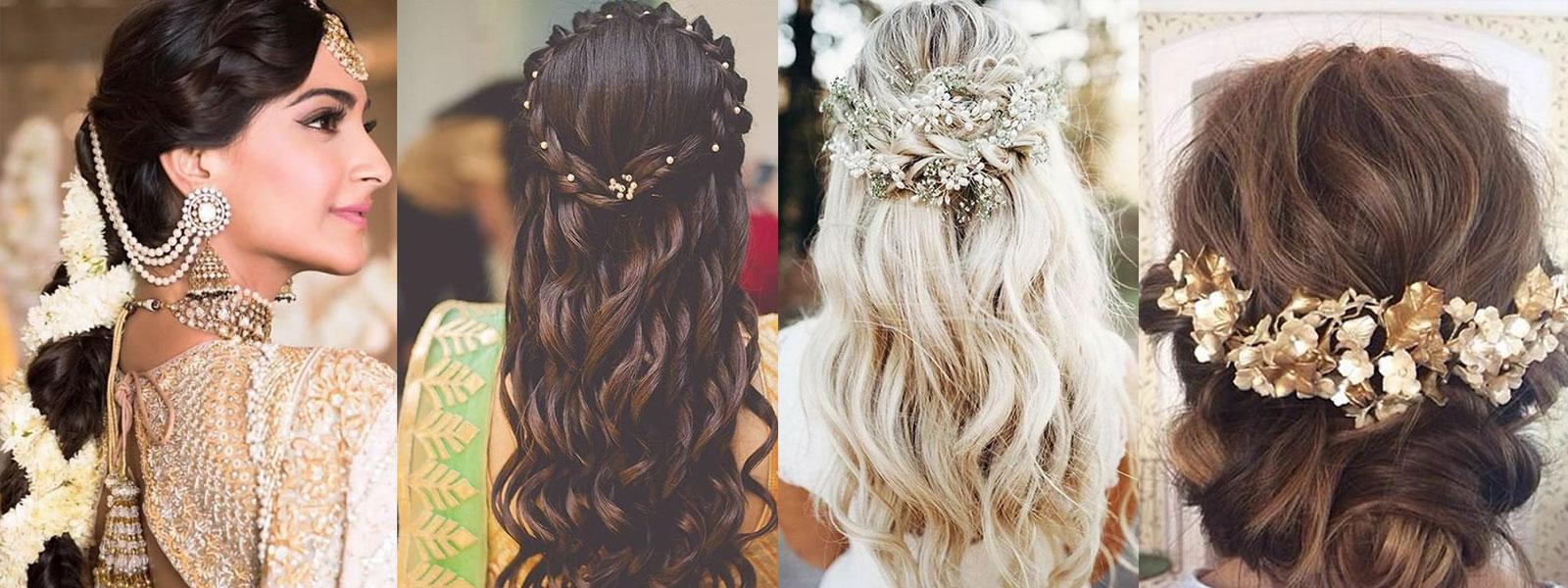 Four different wedding hair styles