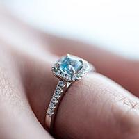 Aqua coloured engagement ring