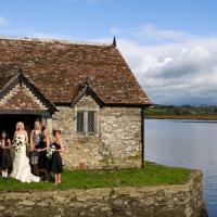 bridal party at bathing hut