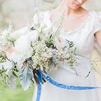 Spring Bride holding flowers
