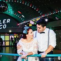 Couple at roller disco