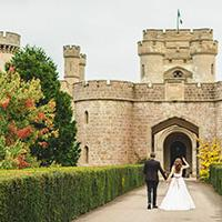 Couple getting married in a castle
