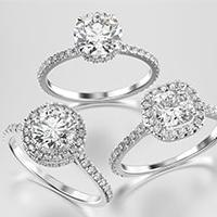 Three diamond engagement ring examples
