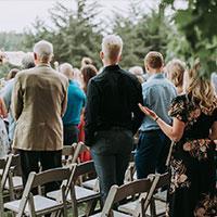 Guests at Spring wedding