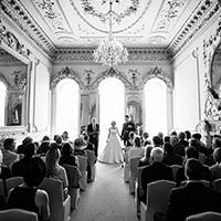 Historic Nanteos Mansion wedding venue - the music room filled with guests