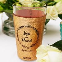 Toast leather pint glass cuffs make luxurious, but affordable wedding gifts