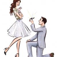 couple propose cartoon style