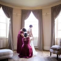 Ruth preparing for her wedding in the complementary Bridal Room at Hylands House