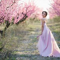 Bride in summer fields