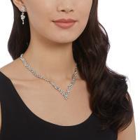 Swarovski Diapason Leaf Medium Rhodium and Clear Crystal Earrings, and Necklace