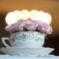 vintage cup with flowers wedding table decoration vintage shabby chic style