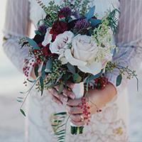 Violet bouquet of flowers