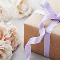 Wedding gift with purple ribbon