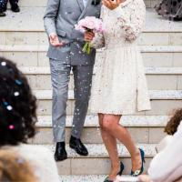 wedding on stairs