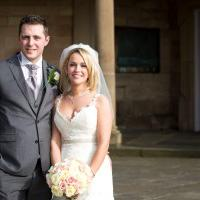 Martyn and Amy Kingston on their wedding day at Nottingham city centre wedding venue, St James Hotel
