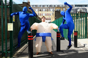 Sumo and Morph fancy dress with Pingit ships